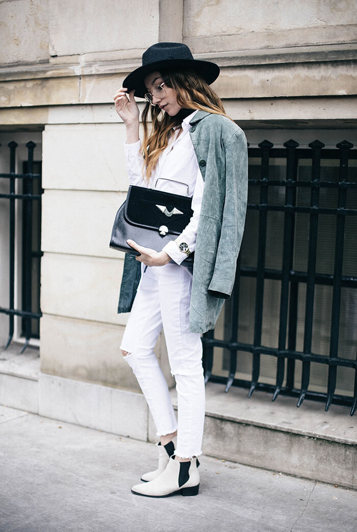Killer-style-outfit-ideas-fedora-hat-green-suede-jacket-acne-ankle-boots-thefashioncuisine