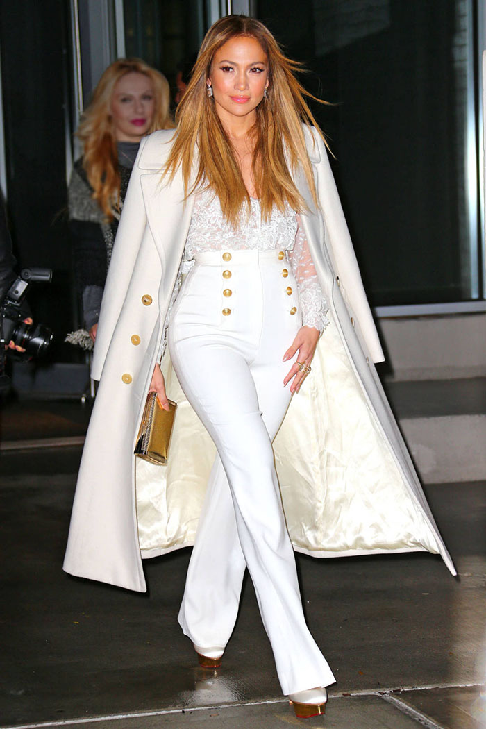 Jennifer Lopez wears white when heading to 92Y in NYC