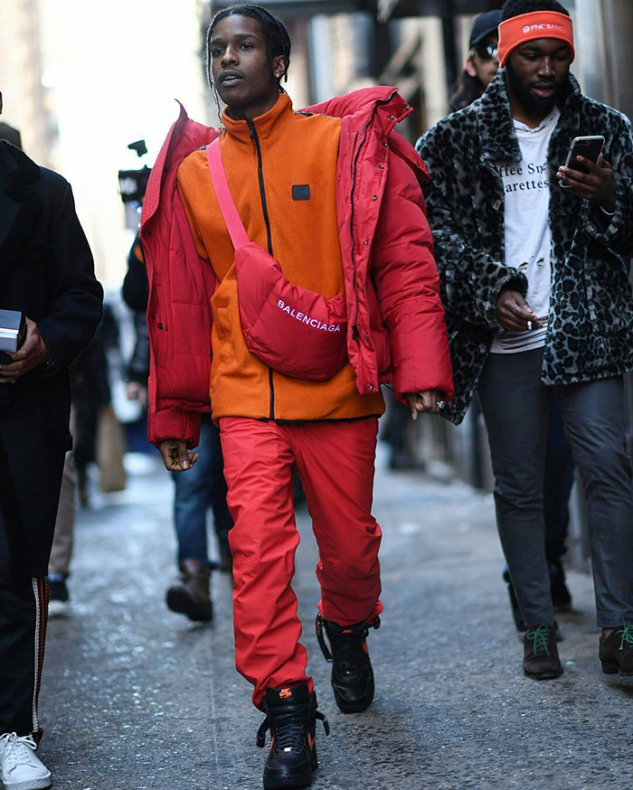 ASAP-Rocky-Balenciaga-jacket-fanny-pack-Calvin-Klein-jacket-Nike-Vlone-sneakers-5