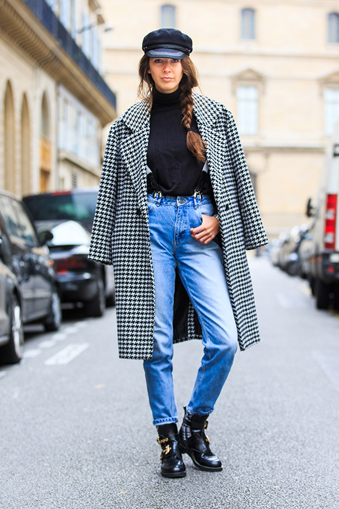 black and white hounds tooth coat, black cut out balenciaga boots, black flat cap, black roll neck knit sweater, braces, denim jeans, estelle pigault, fashion week, full length, fw, HAUTE COUTURE, paris, pfw, SPRING SUMMER 2015, SS 15, street style, vertical, woman